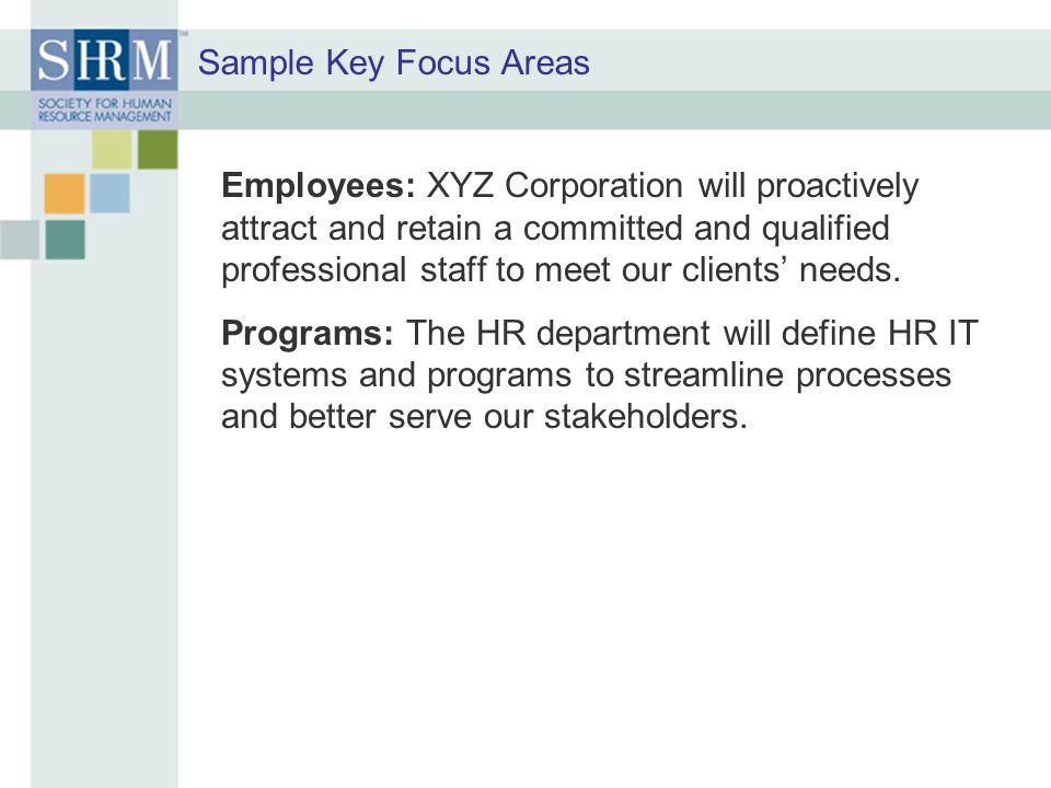 Sample Key Focus Areas