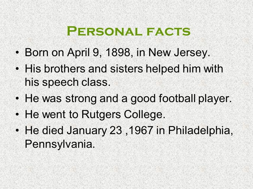 Personal facts Born on April 9, 1898, in New Jersey.