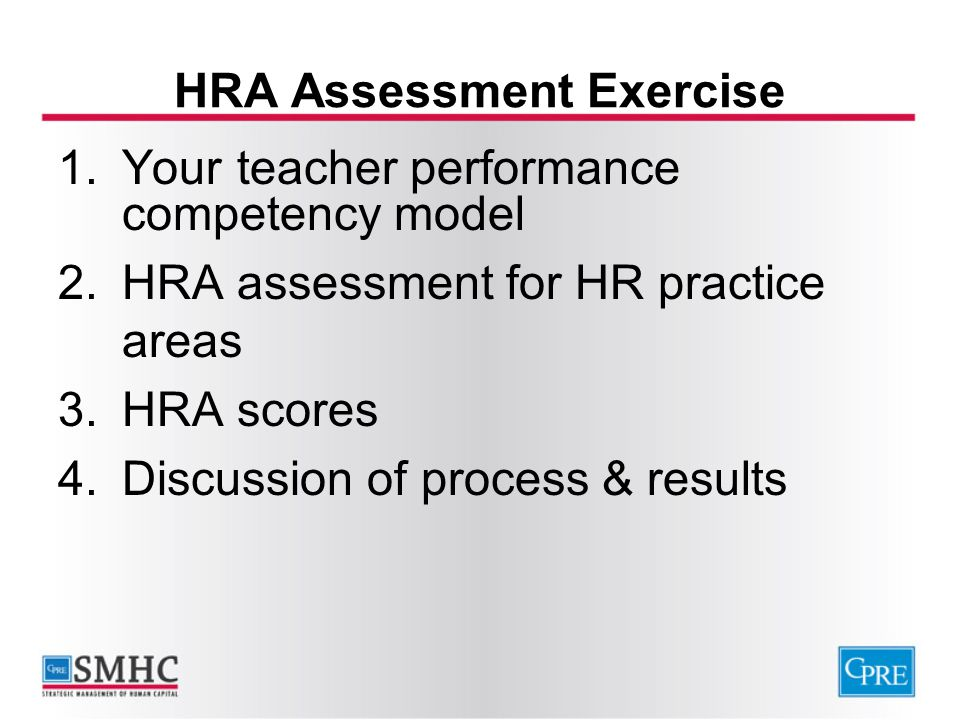 HRA Assessment Exercise