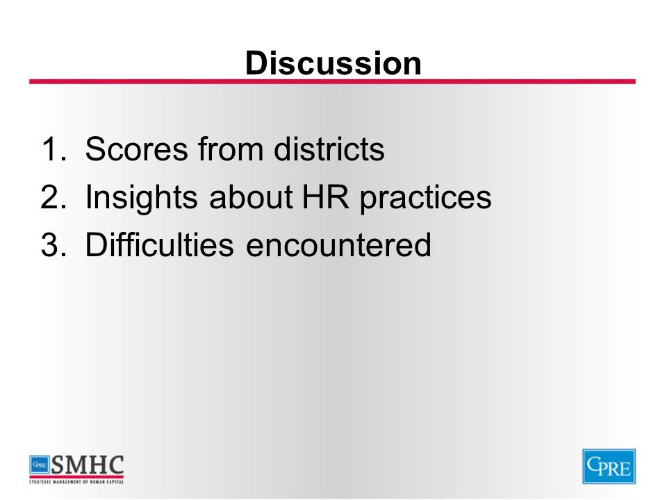 Discussion Scores from districts Insights about HR practices Difficulties encountered