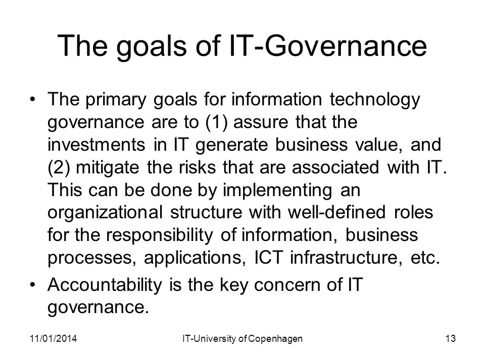 The goals of IT-Governance