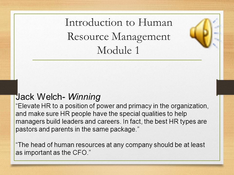 Introduction to Human Resource Management Module 1