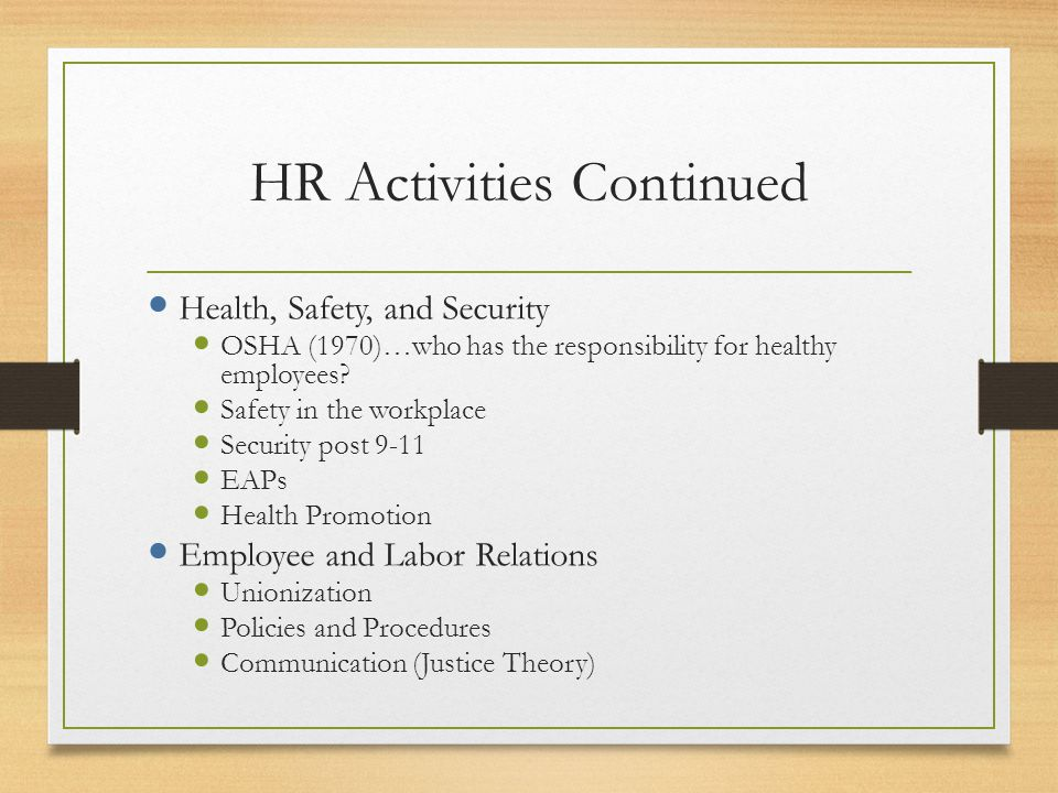 HR Activities Continued