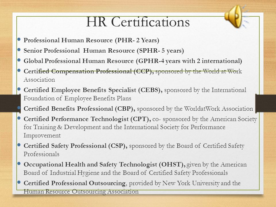 HR Certifications Professional Human Resource (PHR- 2 Years)