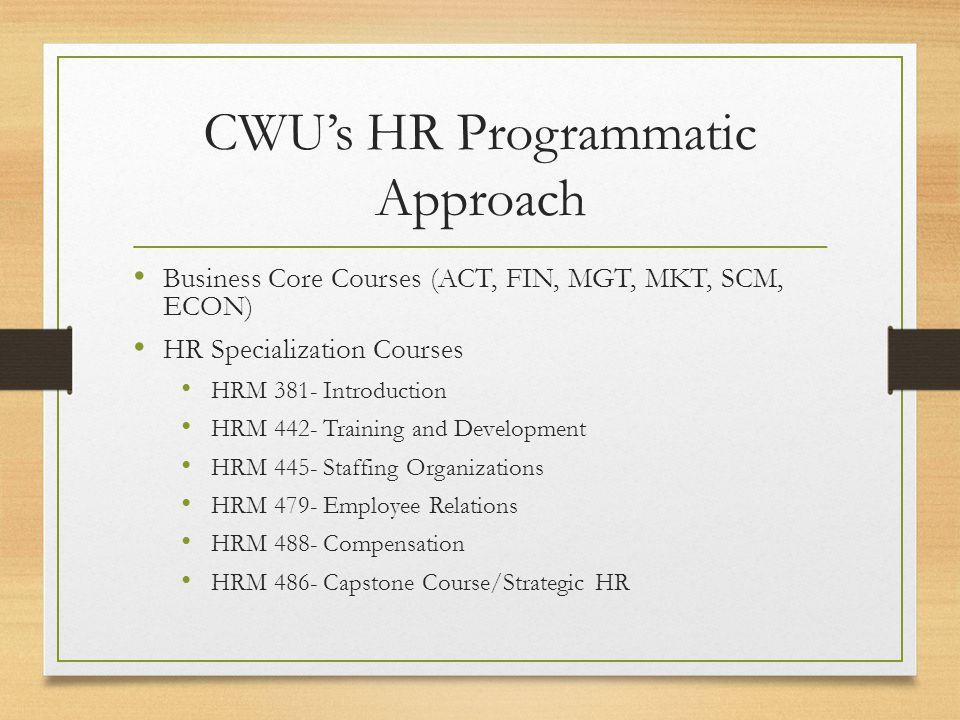 CWU's HR Programmatic Approach