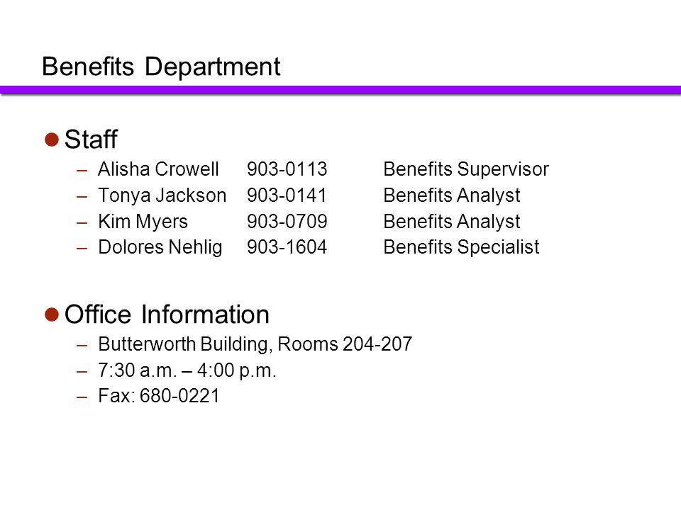 Benefits Department Staff Office Information