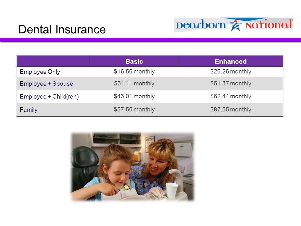 Dental Insurance Basic Enhanced Employee Only $16.56 monthly