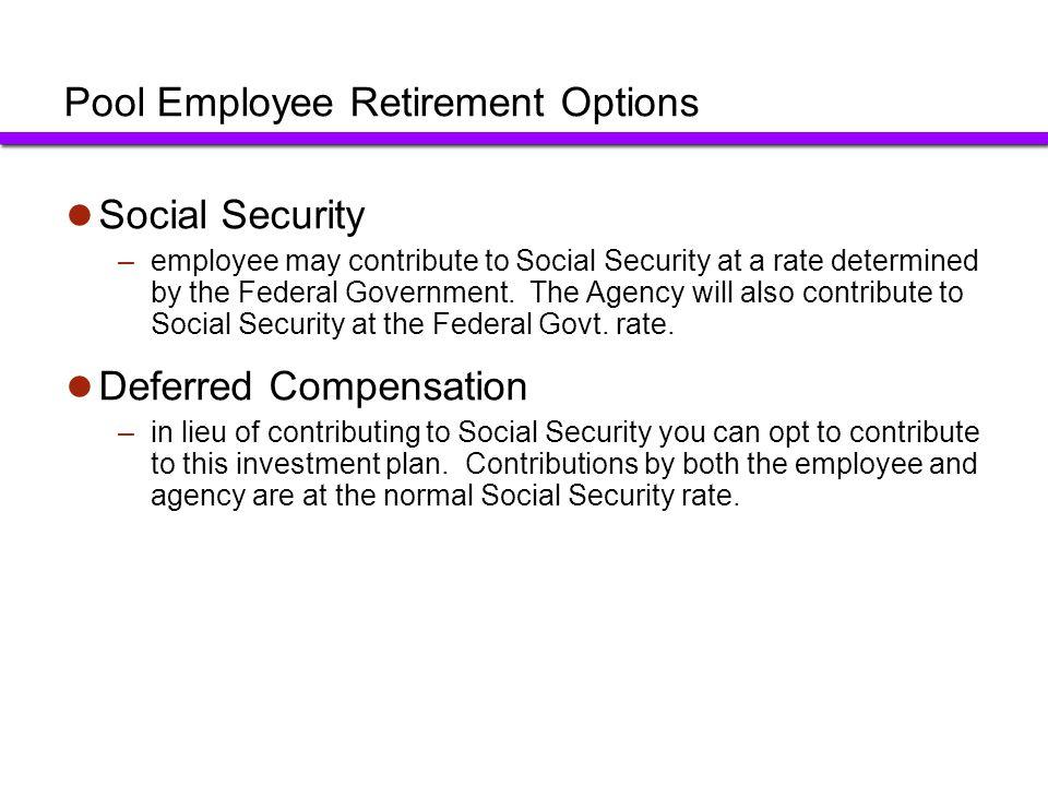 Pool Employee Retirement Options
