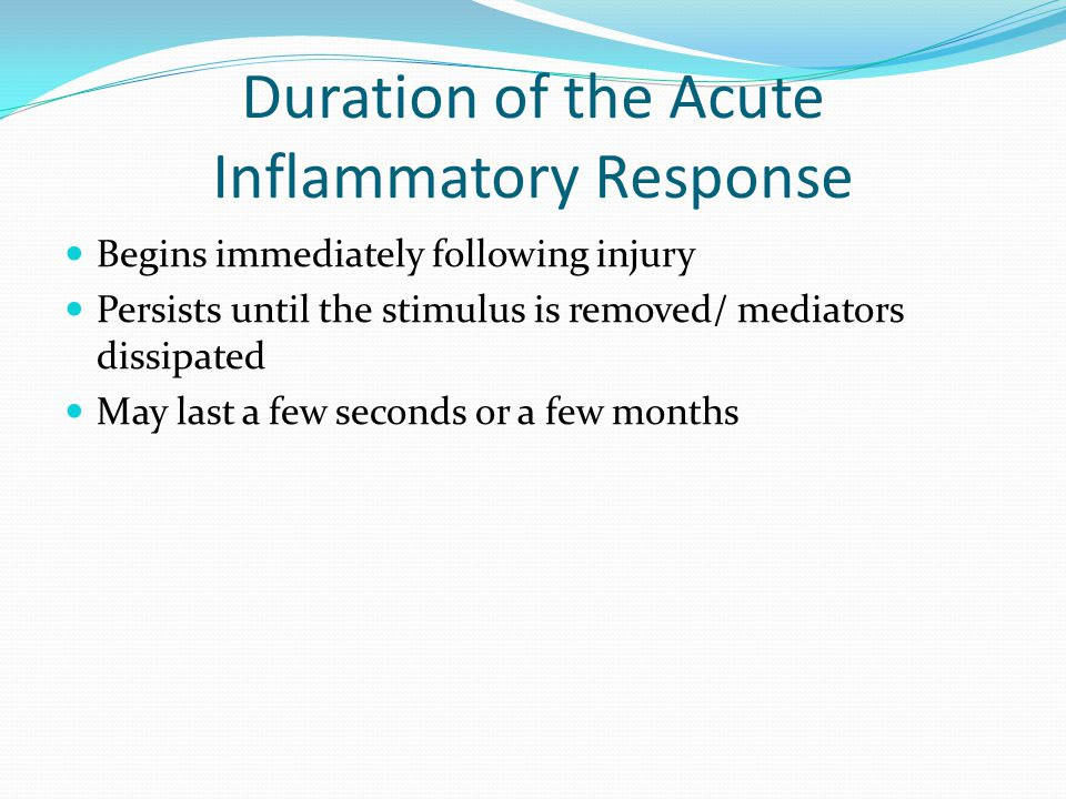Duration of the Acute Inflammatory Response