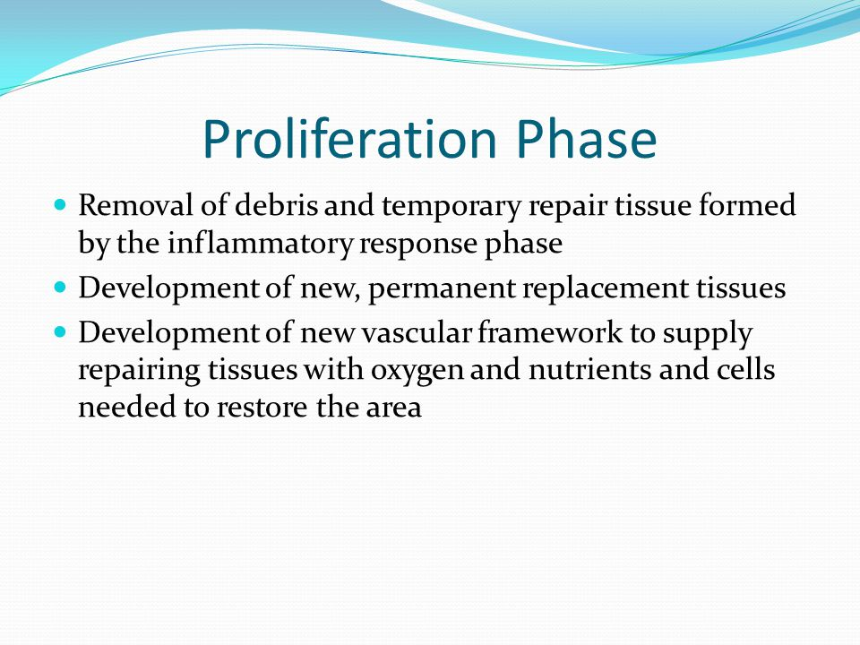 Proliferation Phase Removal of debris and temporary repair tissue formed by the inflammatory response phase.