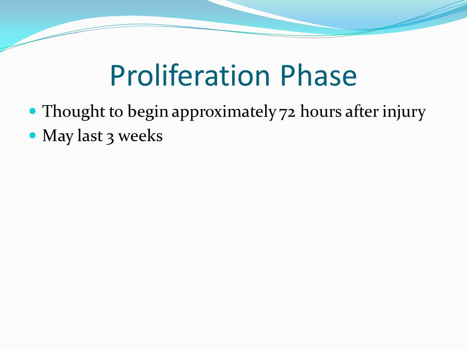 Proliferation Phase Thought to begin approximately 72 hours after injury May last 3 weeks