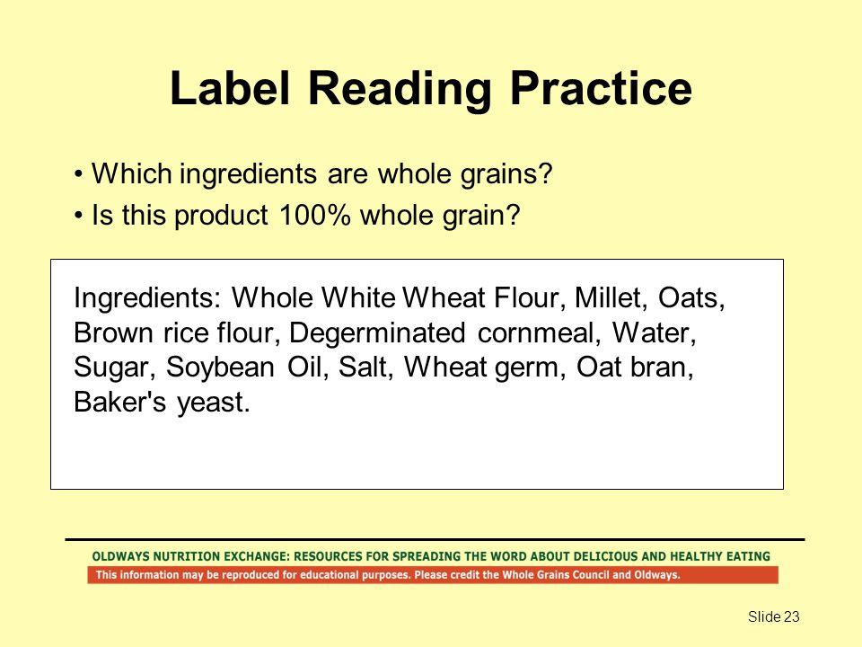 Label Reading Practice