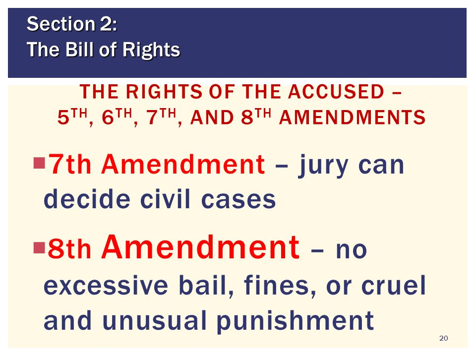 The Rights of the Accused – 5th, 6th, 7th, and 8th Amendments