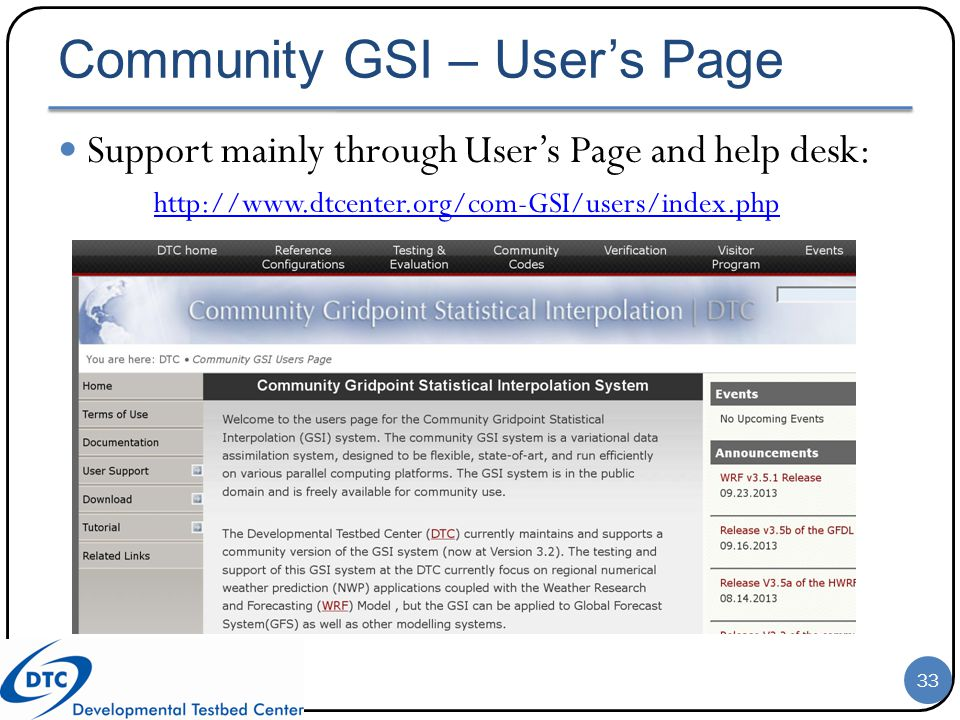 Community GSI – User's Page