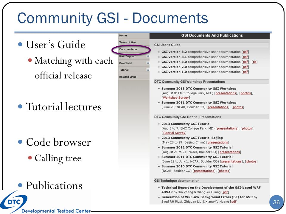 Community GSI - Documents