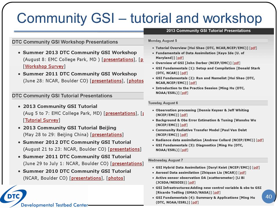Community GSI – tutorial and workshop