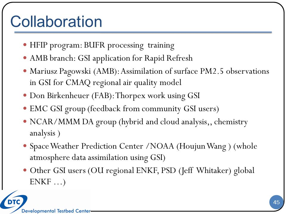 Collaboration HFIP program: BUFR processing training