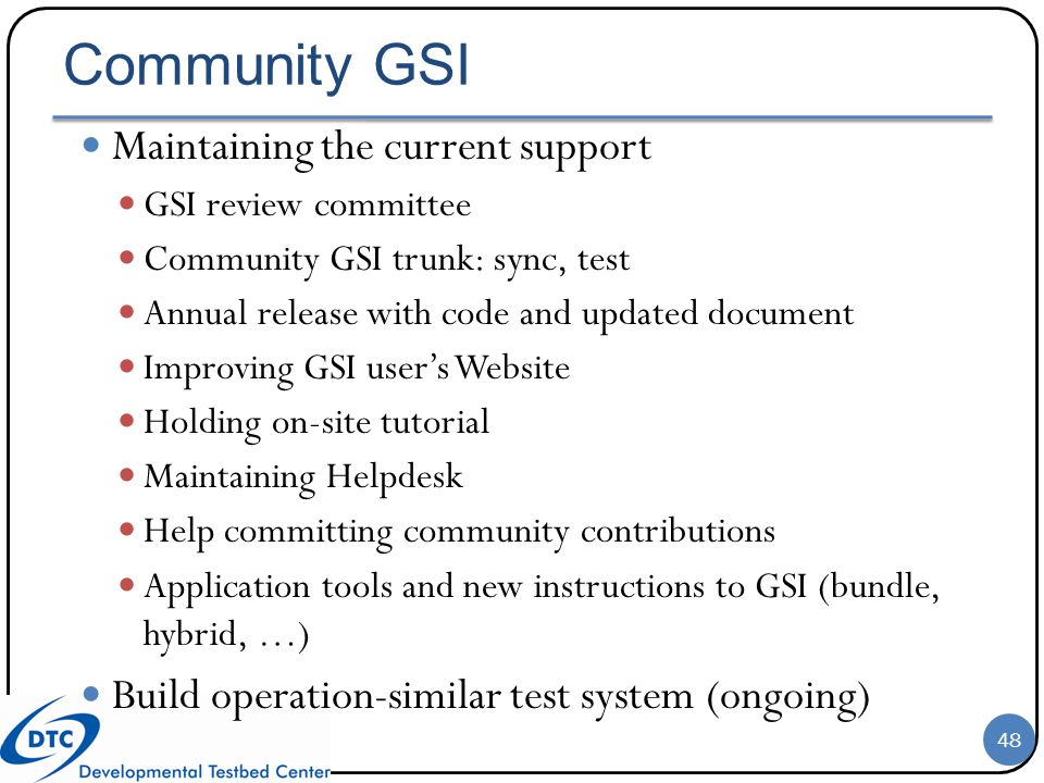 Community GSI Maintaining the current support