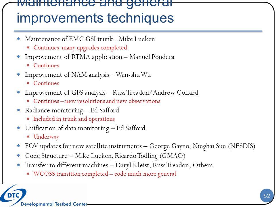Maintenance and general improvements techniques
