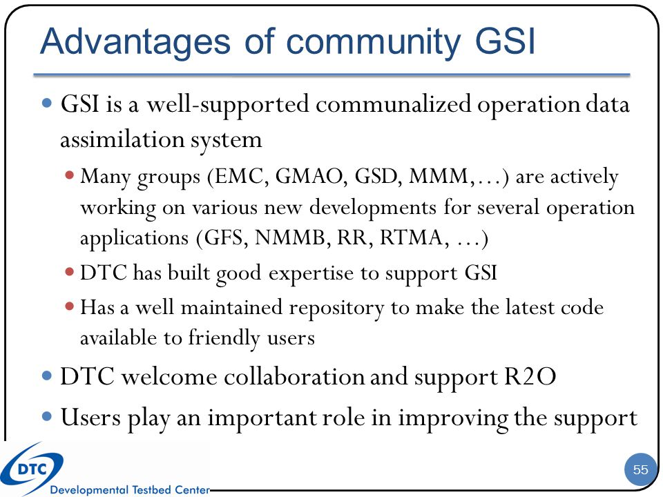 Advantages of community GSI