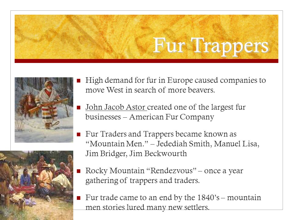 Fur Trappers High demand for fur in Europe caused companies to move West in search of more beavers.