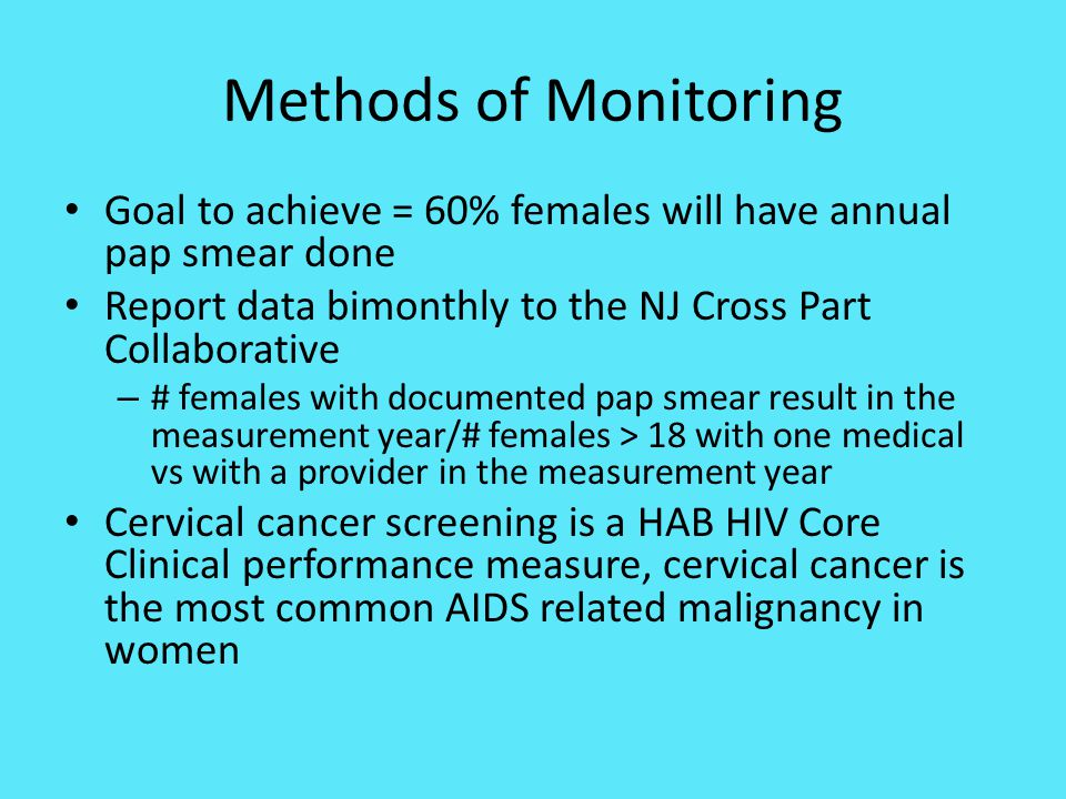 Methods of Monitoring Goal to achieve = 60% females will have annual pap smear done. Report data bimonthly to the NJ Cross Part Collaborative.