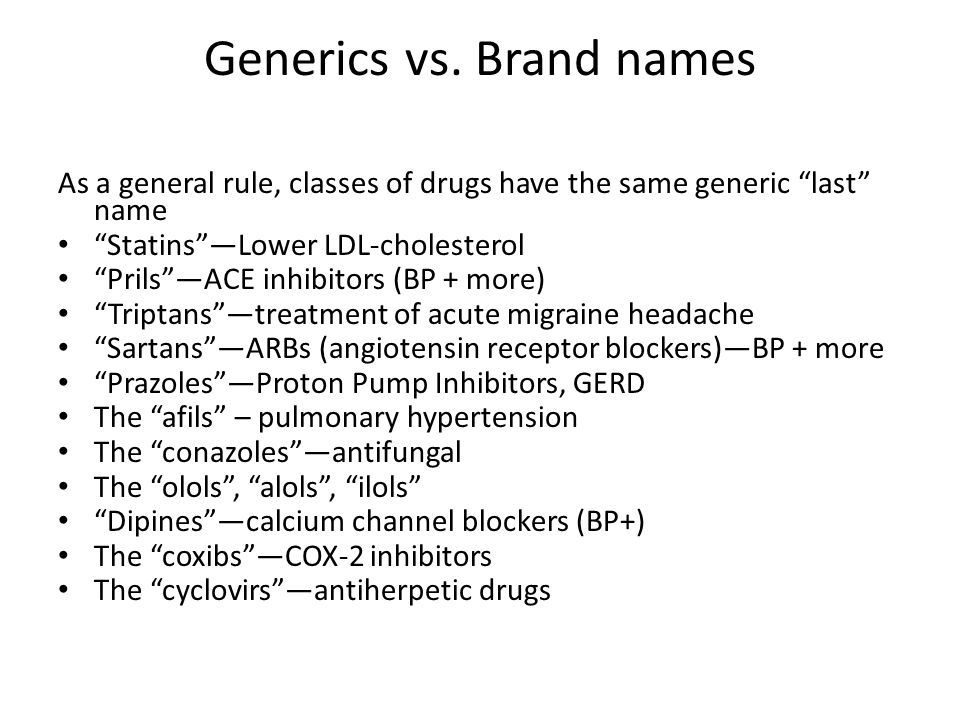 Generics vs. Brand names