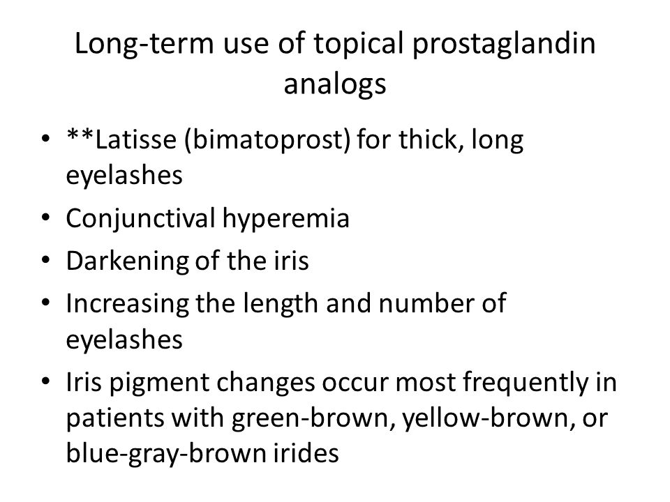 Long-term use of topical prostaglandin analogs