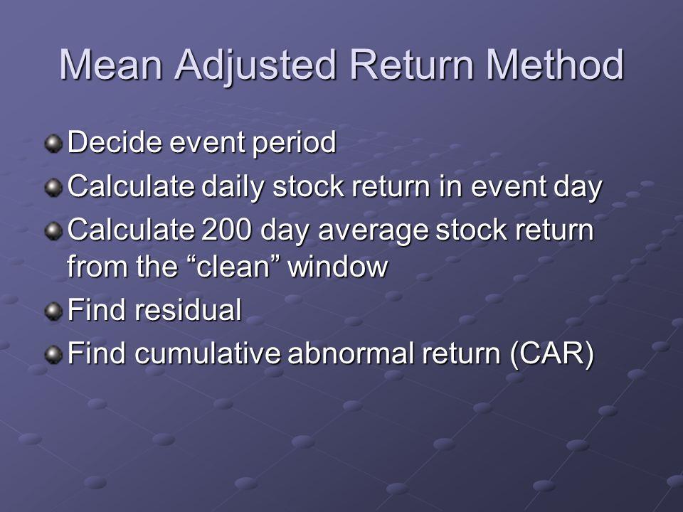 Mean Adjusted Return Method