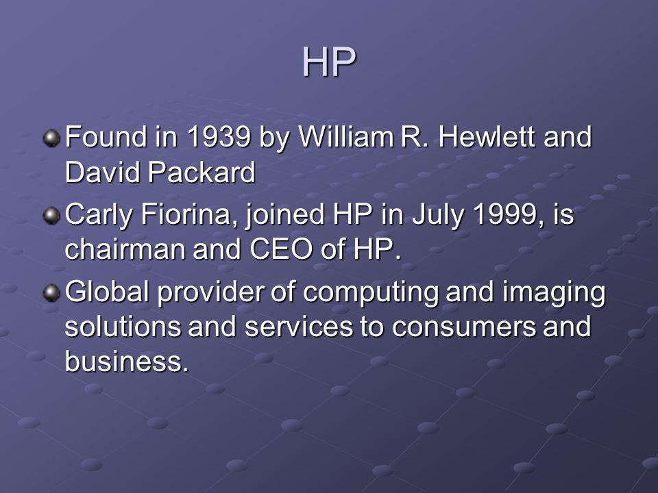 HP Found in 1939 by William R. Hewlett and David Packard