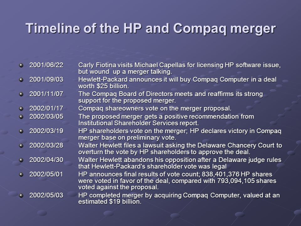 Timeline of the HP and Compaq merger