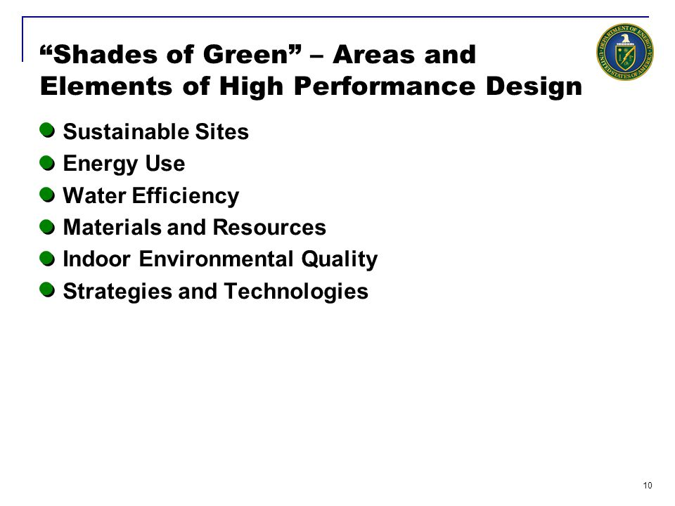 Shades of Green – Areas and Elements of High Performance Design
