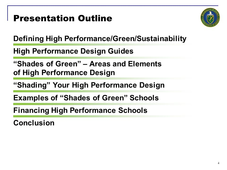 Presentation Outline Defining High Performance/Green/Sustainability