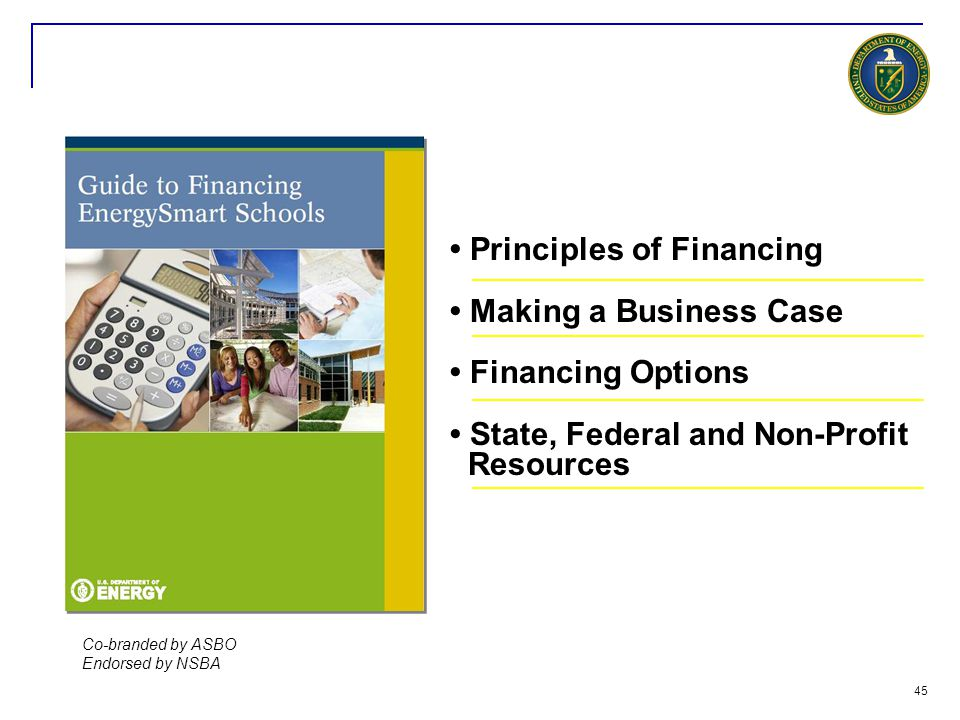 • Principles of Financing • Making a Business Case • Financing Options