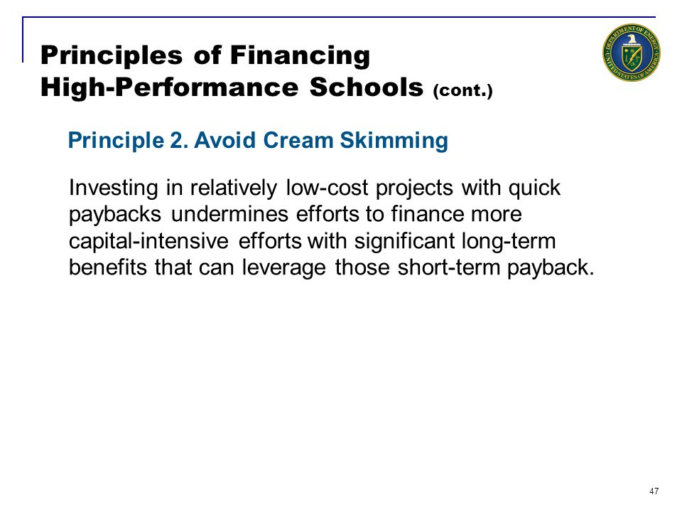 Principles of Financing High-Performance Schools (cont.)