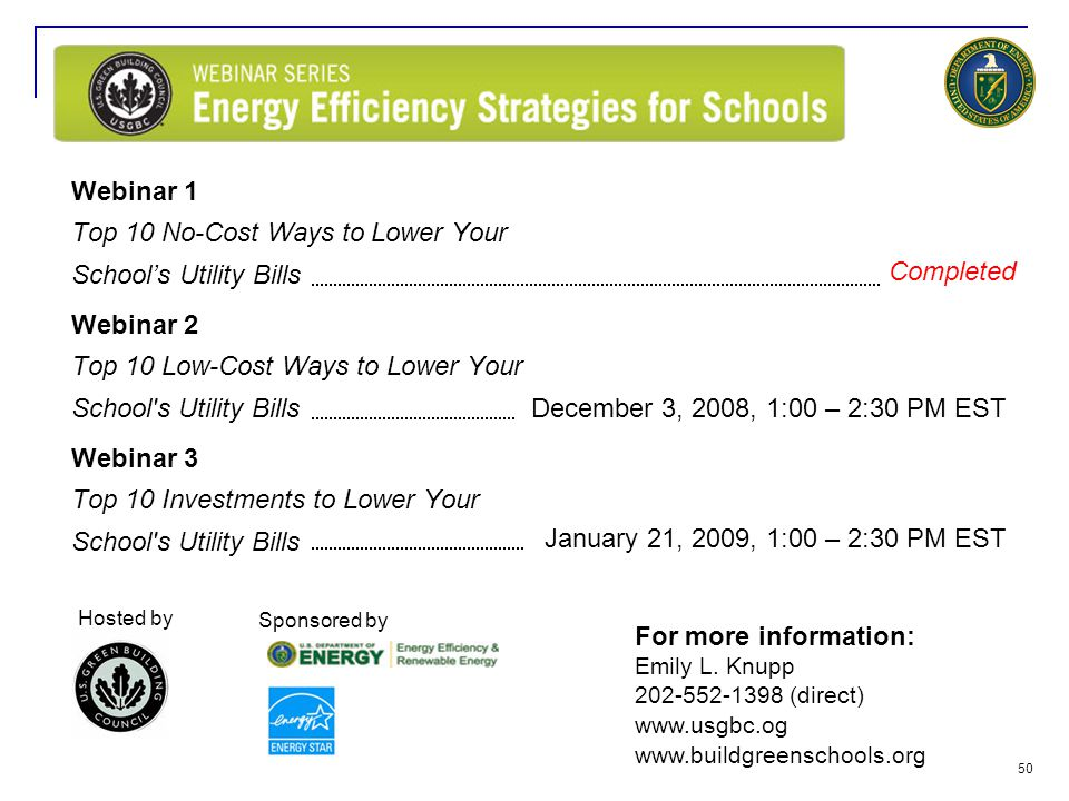 Webinar 1 Top 10 No-Cost Ways to Lower Your School's Utility Bills