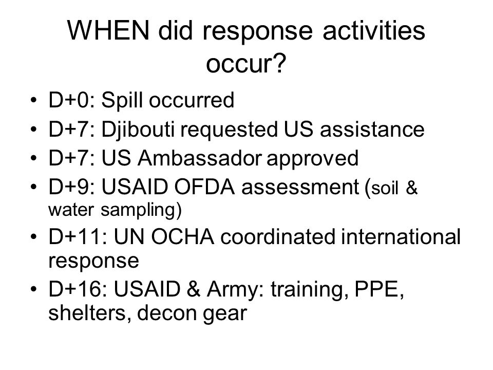 WHEN did response activities occur