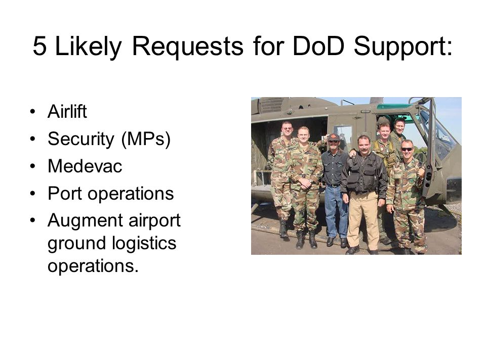 5 Likely Requests for DoD Support: