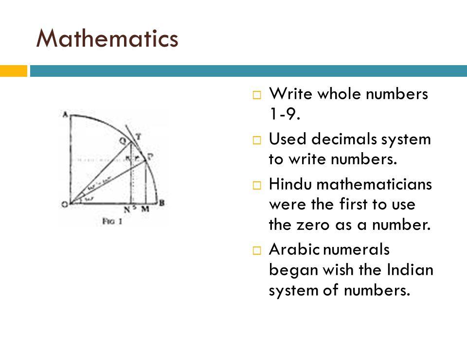 Mathematics Write whole numbers 1-9.