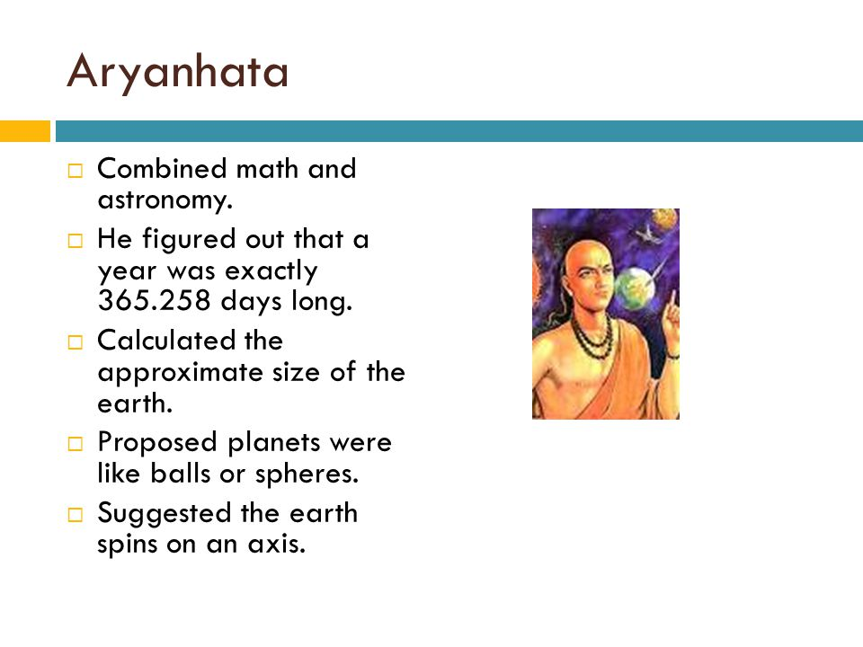 Aryanhata Combined math and astronomy.