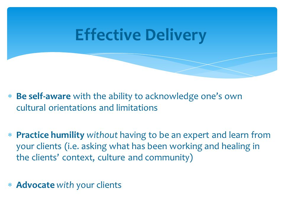 Effective Delivery Be self-aware with the ability to acknowledge one's own cultural orientations and limitations.