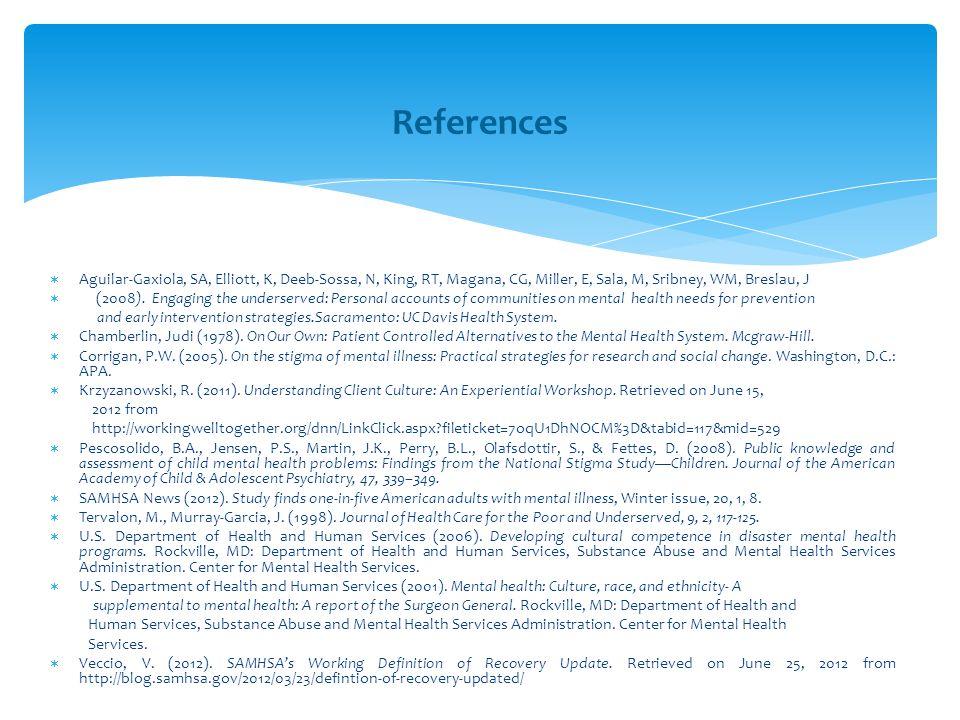 References Aguilar-Gaxiola, SA, Elliott, K, Deeb-Sossa, N, King, RT, Magana, CG, Miller, E, Sala, M, Sribney, WM, Breslau, J.