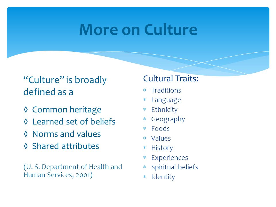 More on Culture Culture is broadly defined as a Cultural Traits: