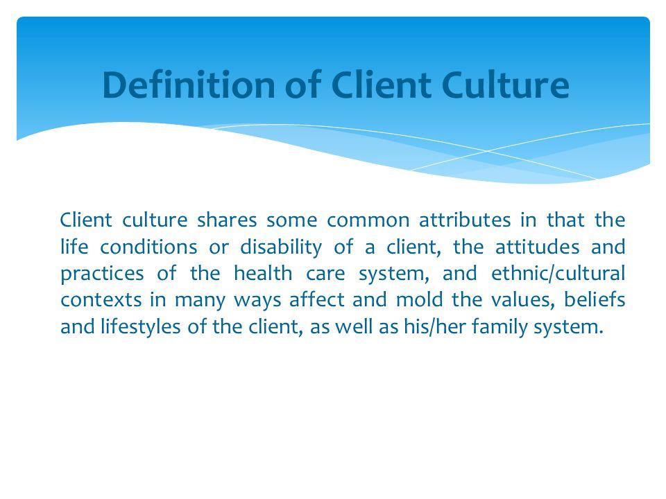 Definition of Client Culture