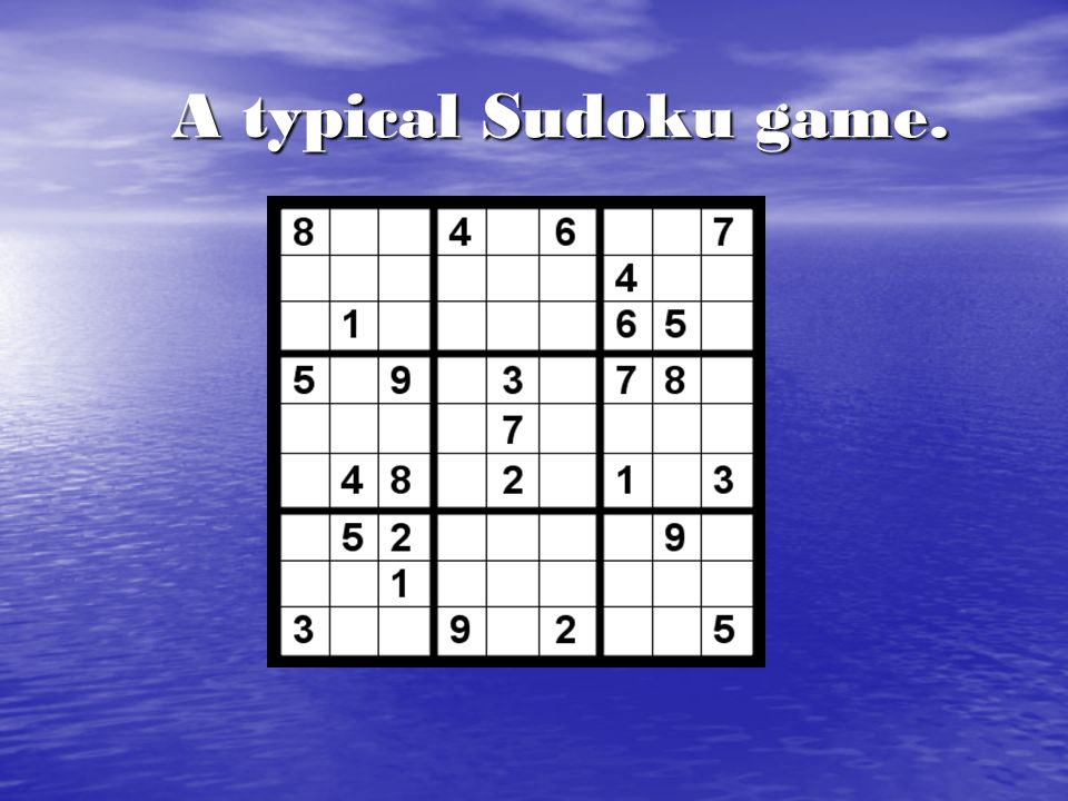 A typical Sudoku game.