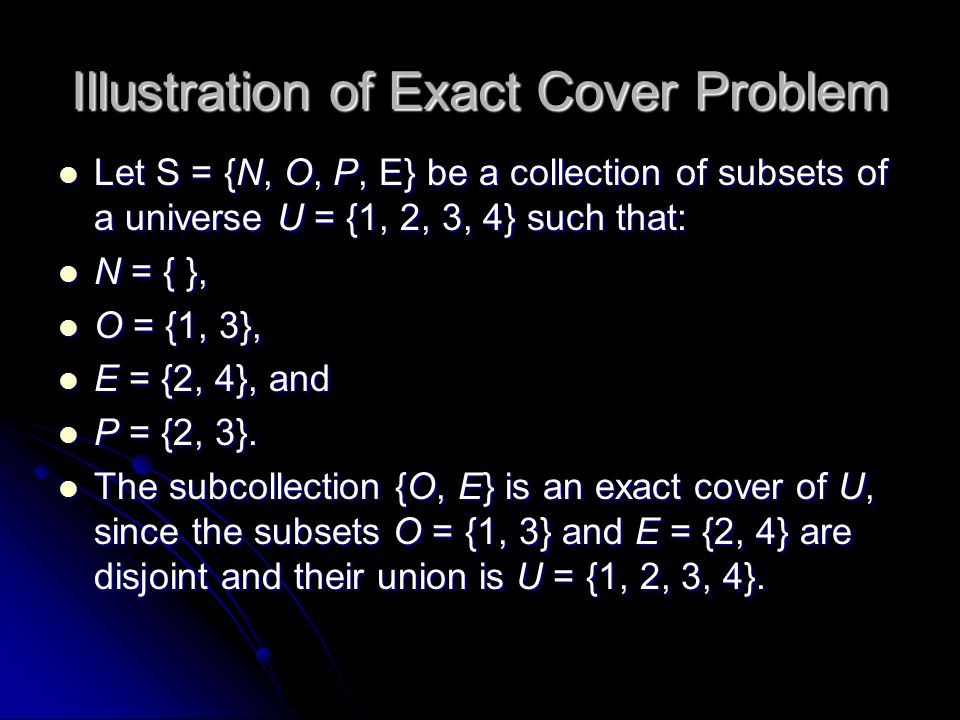 Illustration of Exact Cover Problem