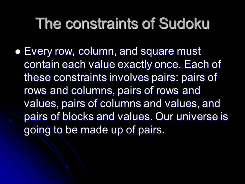 The constraints of Sudoku