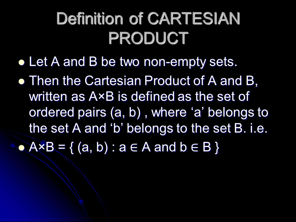 Definition of CARTESIAN PRODUCT