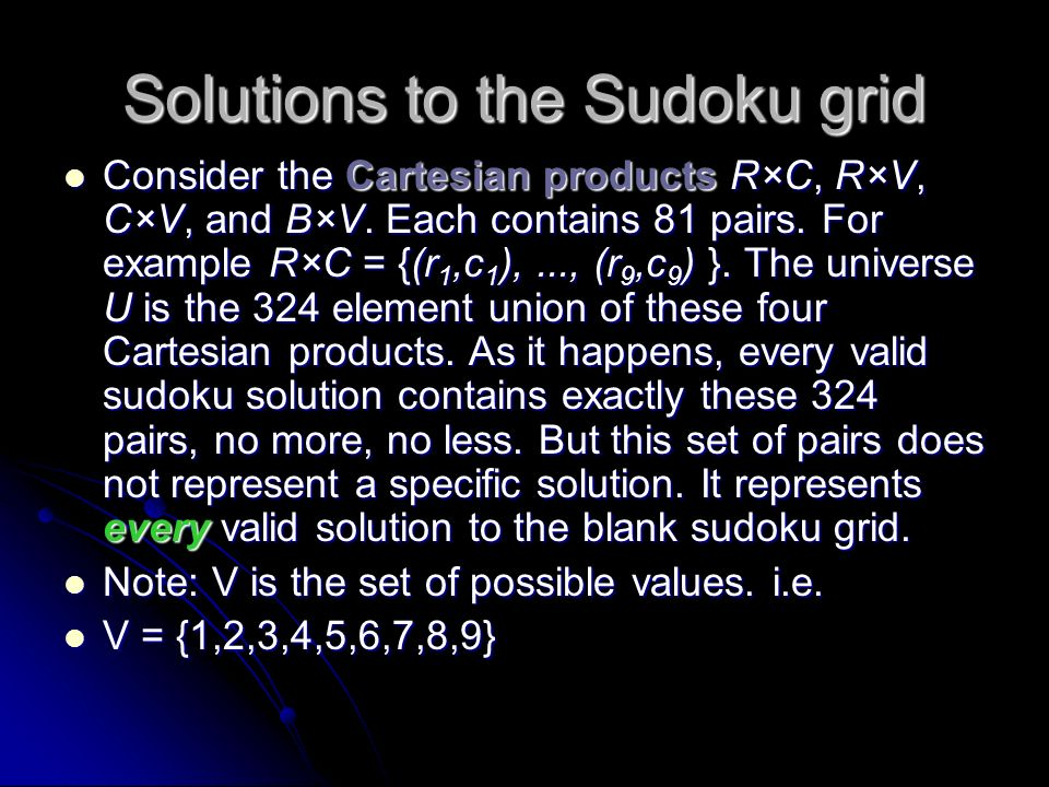 Solutions to the Sudoku grid