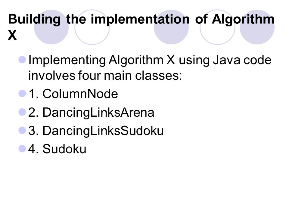 Building the implementation of Algorithm X